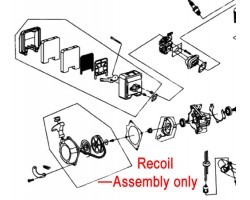 Cobra T34C Tiller Recoil Assembly 1E40F-5.10