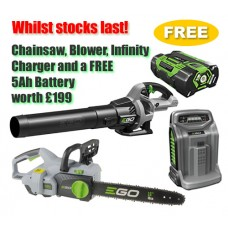 EGO Power + 56v Cordless Deal Chainsaw, Blower, Infinity Charger plus FREE 5Ah Battery