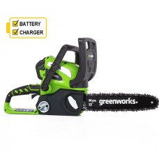 "Greenworks G40CS30K2 40v Cordless 12"" Chainsaw c/w battery & charger"
