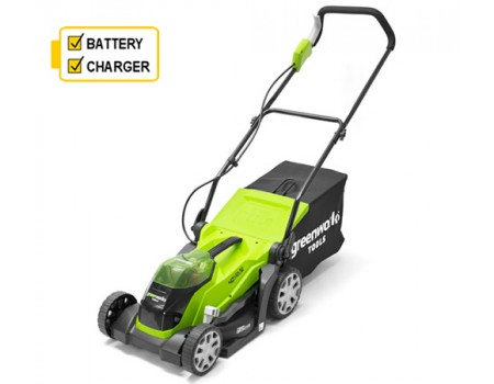 Greenworks G40LM35K2 40v Cordless mower c/w battery & charger
