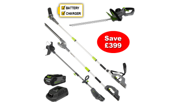 Greenworks Duramaxx Set of 4 Cordless 40V Garden Tools Incl Battery & Charger
