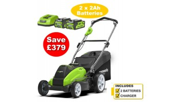 Greenworks G40LM45K2X Cordless 40v 45cm Mower c/w 2 X Batteries & Charger