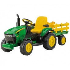 John Deere Ground Force 12v Toy Tractor and Trailer